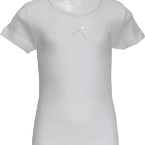 Maglietta manica corta bambina Ma.Re. bianca con fiocchetto-0